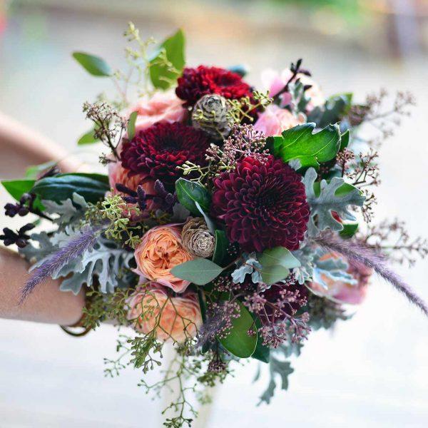 Bordo anastasia ve kavuniçi güller - Gelin Buketleri - Lunlun Çiçek
