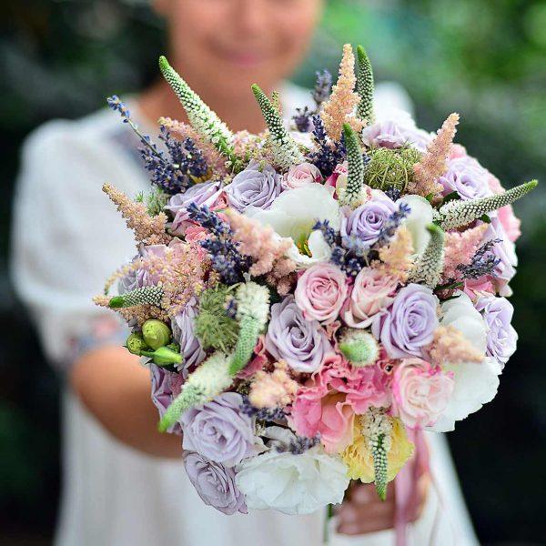 Lila Pembe tonlarda Gelin Buketi - Gelin Buketleri - Lunlun Çiçek